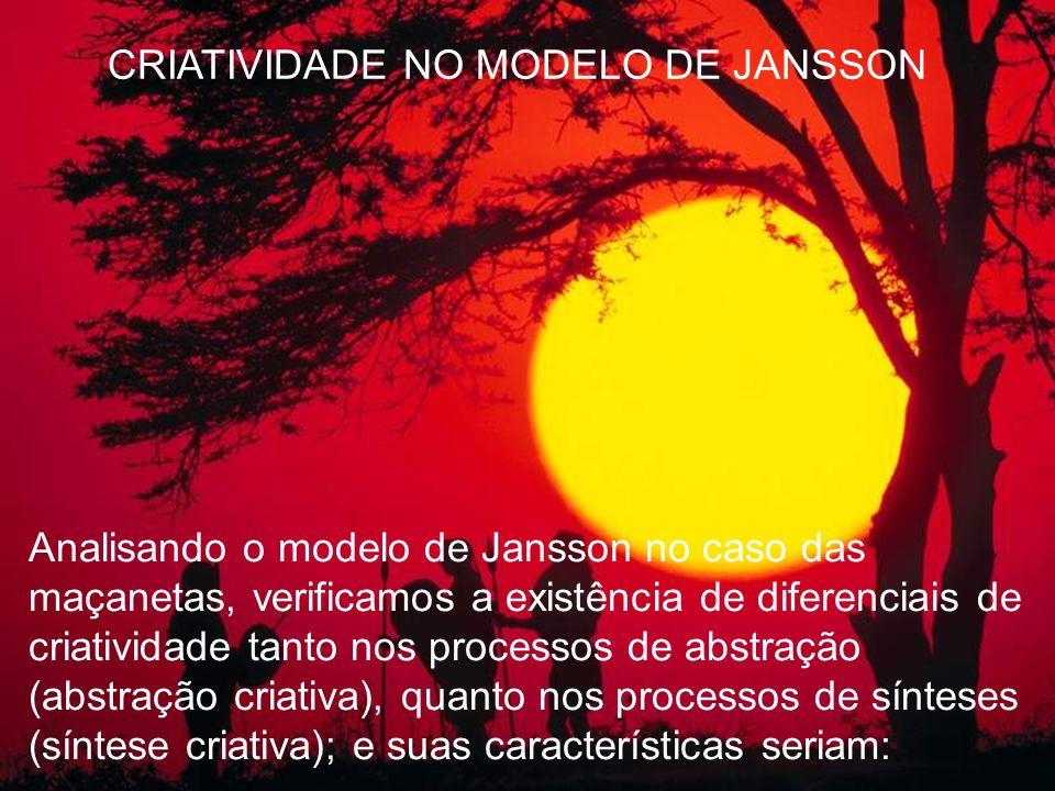 Analisando o modelo de Jansson no caso das maçanetas, verificamos a existência de diferenciais de criatividade tanto nos processos de abstração (abstr