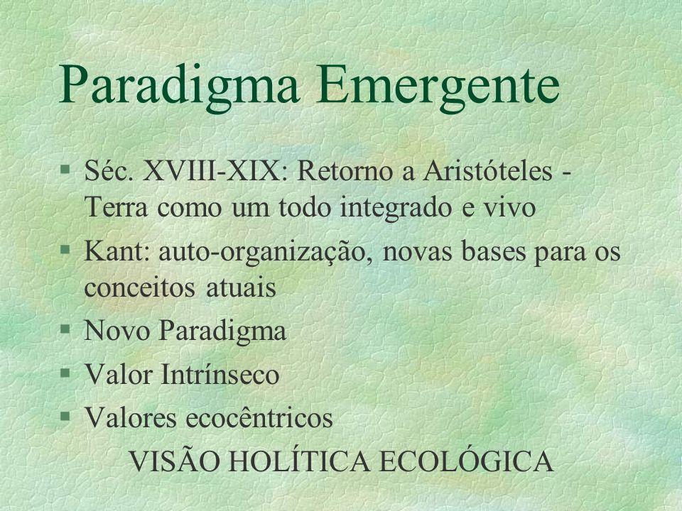 Paradigma Emergente §Séc. XVIII-XIX: Retorno a Aristóteles - Terra como um todo integrado e vivo §Kant: auto-organização, novas bases para os conceito