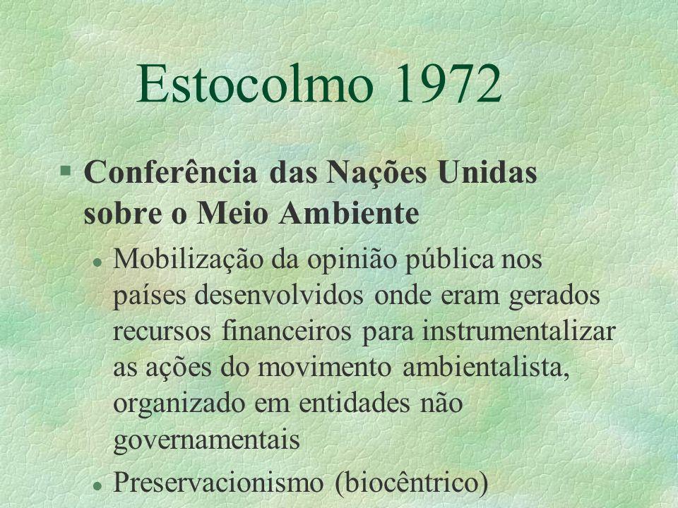 Estocolmo 1972 §Conferência das Nações Unidas sobre o Meio Ambiente l Mobilização da opinião pública nos países desenvolvidos onde eram gerados recurs