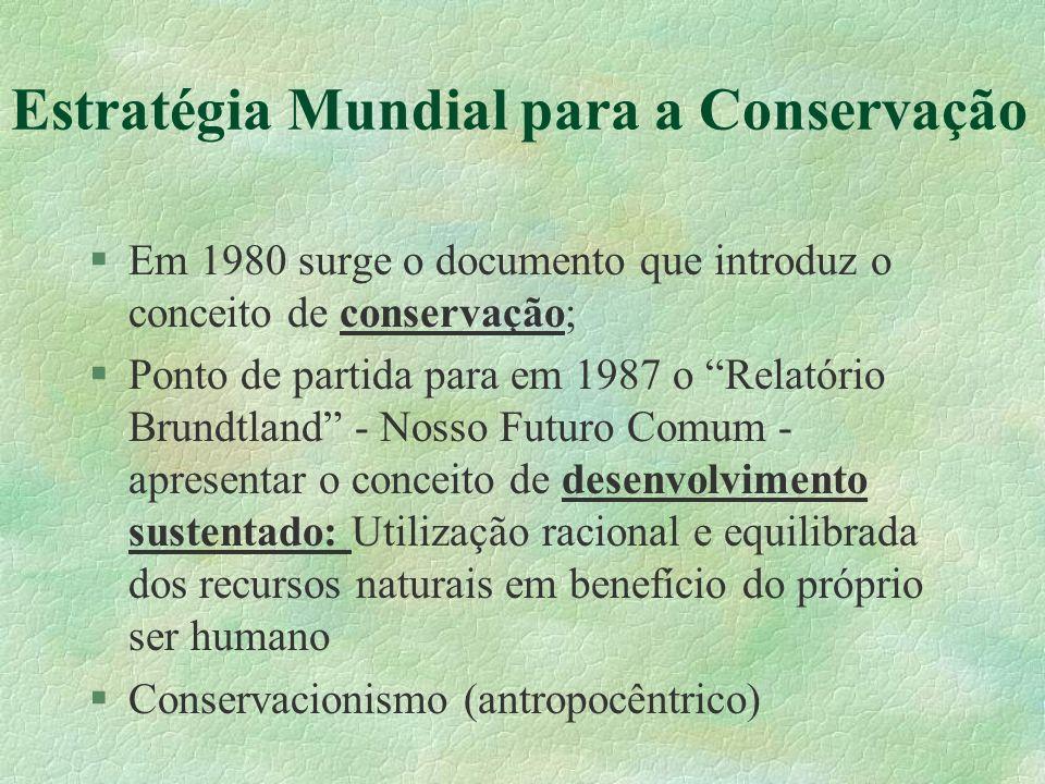 Estratégia Mundial para a Conservação §Em 1980 surge o documento que introduz o conceito de conservação; §Ponto de partida para em 1987 o Relatório Br