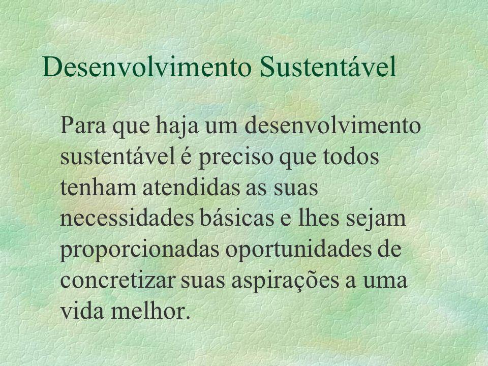 Desenvolvimento Sustentável Para que haja um desenvolvimento sustentável é preciso que todos tenham atendidas as suas necessidades básicas e lhes seja