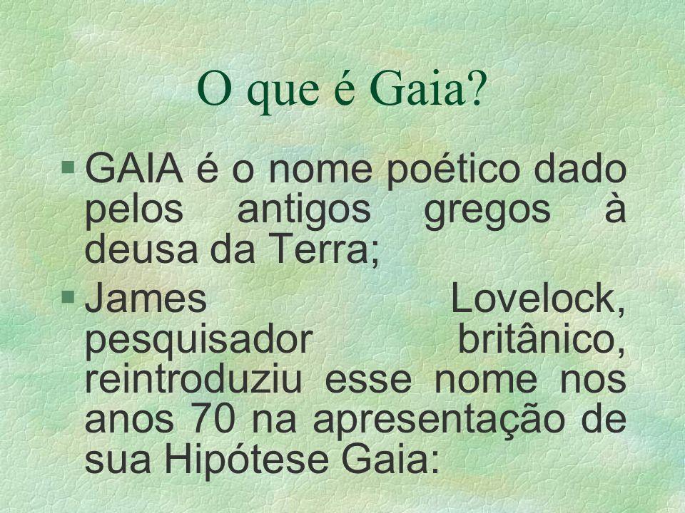 O que é Gaia? §GAIA é o nome poético dado pelos antigos gregos à deusa da Terra; §James Lovelock, pesquisador britânico, reintroduziu esse nome nos an