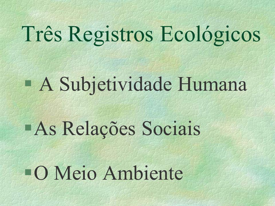 Três Registros Ecológicos § A Subjetividade Humana §As Relações Sociais §O Meio Ambiente
