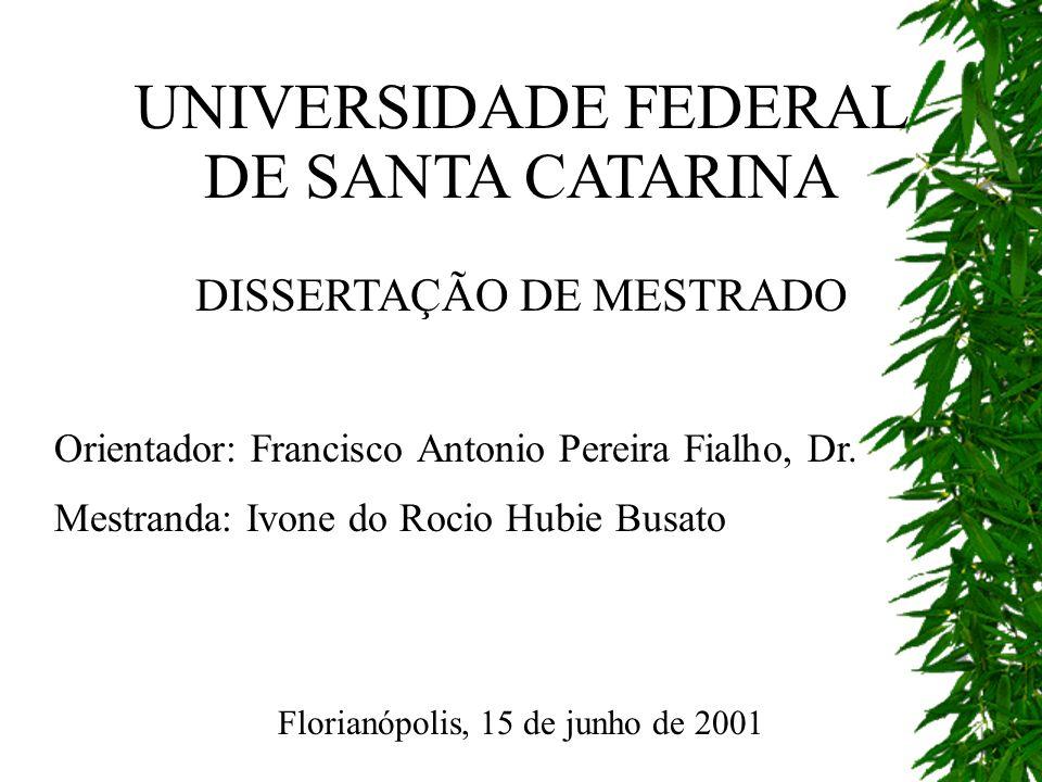 UNIVERSIDADE FEDERAL DE SANTA CATARINA DISSERTAÇÃO DE MESTRADO Orientador: Francisco Antonio Pereira Fialho, Dr. Mestranda: Ivone do Rocio Hubie Busat