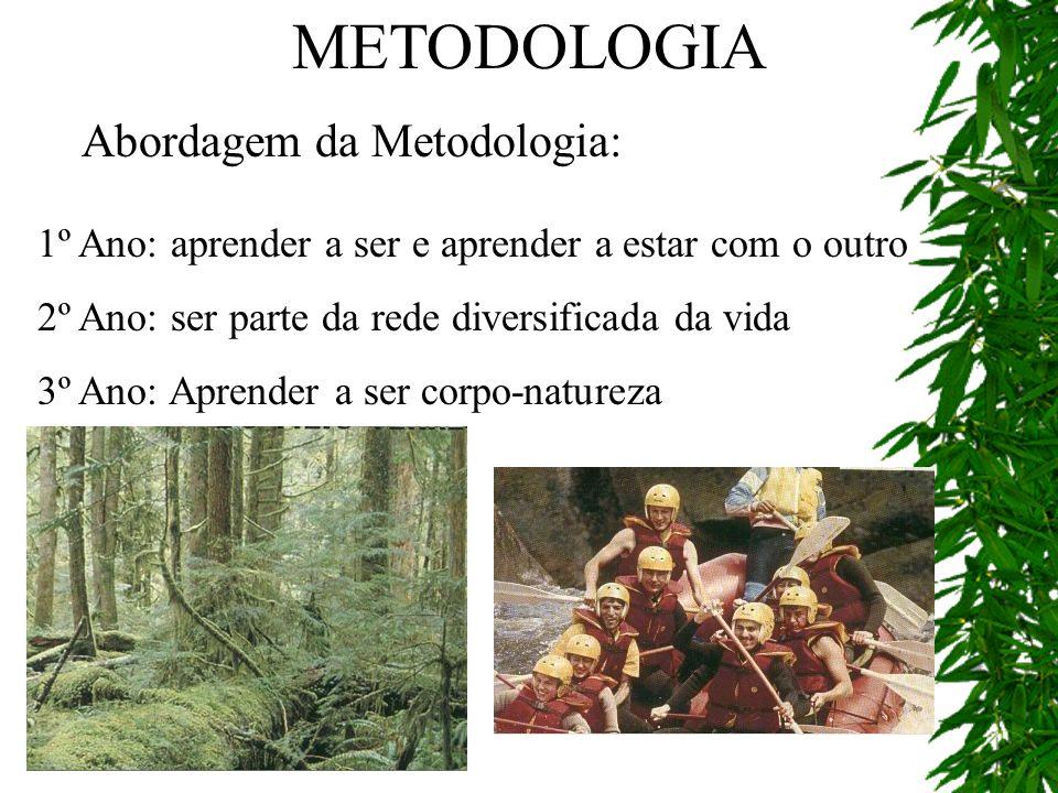 METODOLOGIA Abordagem da Metodologia: 1º Ano: aprender a ser e aprender a estar com o outro 2º Ano: ser parte da rede diversificada da vida 3º Ano: Ap