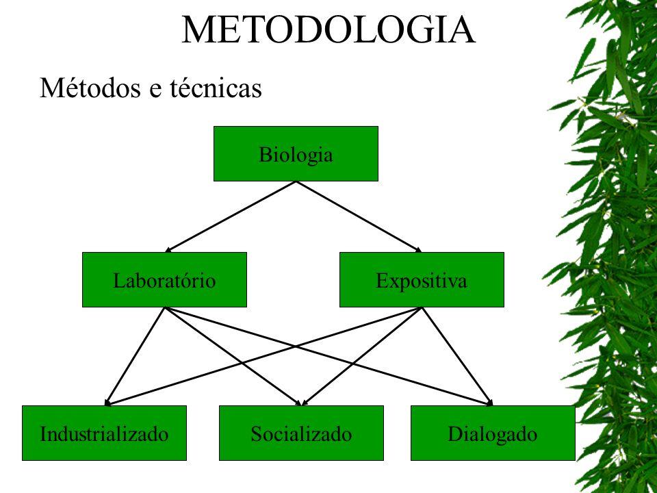 Métodos e técnicas Biologia Laboratório DialogadoSocializadoIndustrializado Expositiva METODOLOGIA