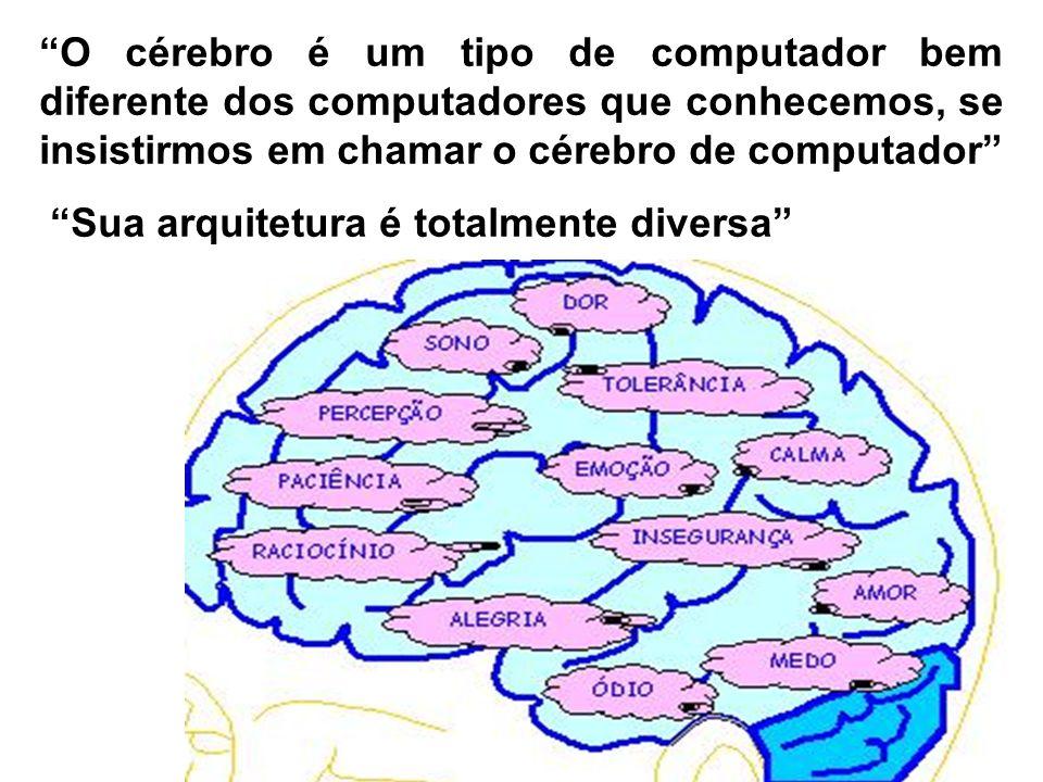 O cérebro é um tipo de computador bem diferente dos computadores que conhecemos, se insistirmos em chamar o cérebro de computador Sua arquitetura é to