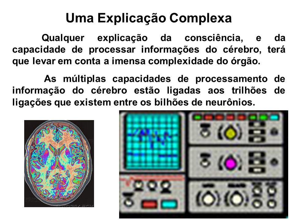 Uma Explicação Complexa Qualquer explicação da consciência, e da capacidade de processar informações do cérebro, terá que levar em conta a imensa comp