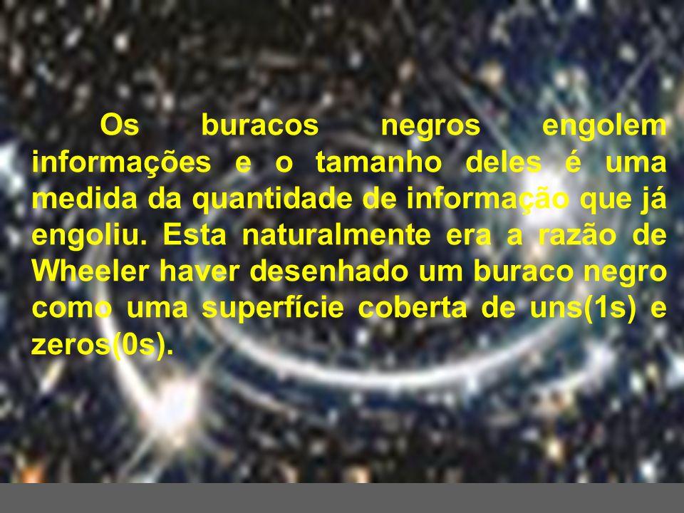 Os buracos negros engolem informações e o tamanho deles é uma medida da quantidade de informação que já engoliu. Esta naturalmente era a razão de Whee