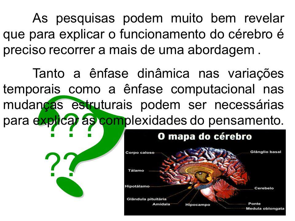 ??? ?? As pesquisas podem muito bem revelar que para explicar o funcionamento do cérebro é preciso recorrer a mais de uma abordagem. Tanto a ênfase di