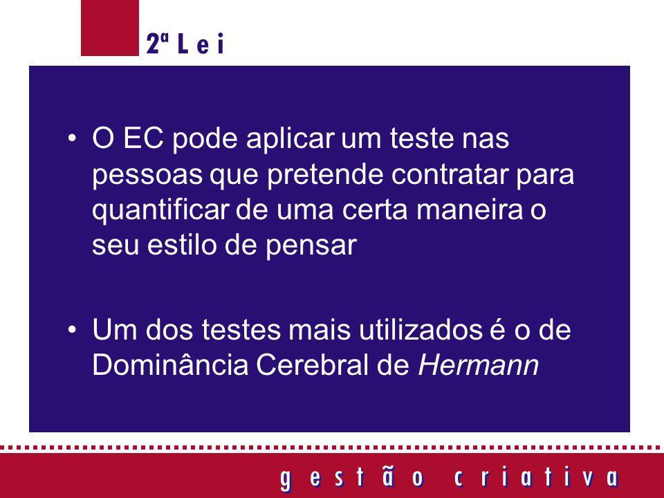 O EC pode aplicar um teste nas pessoas que pretende contratar para quantificar de uma certa maneira o seu estilo de pensar Um dos testes mais utilizados é o de Dominância Cerebral de Hermann g e s t ã o c r i a t i v a g e s t ã o c r i a t i v a 2ª L e i