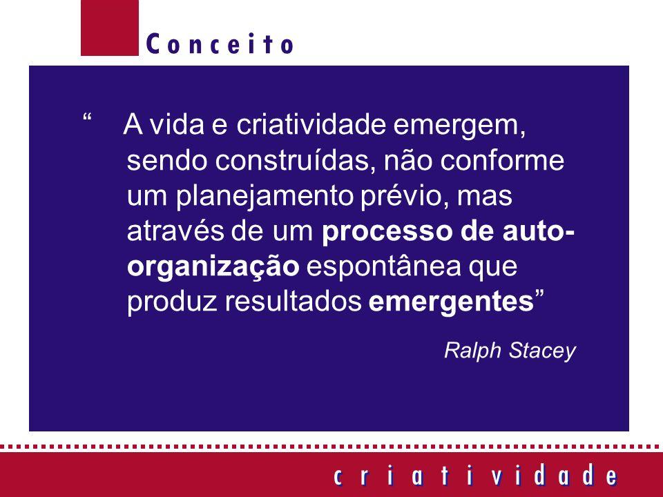 C o n c e i t o c r i a t i v i d a d e c r i a t i v i d a d e A vida e criatividade emergem, sendo construídas, não conforme um planejamento prévio, mas através de um processo de auto- organização espontânea que produz resultados emergentes Ralph Stacey