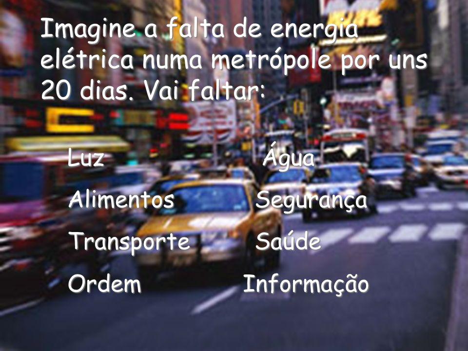 Imagine a falta de energia elétrica numa metrópole por uns 20 dias. Vai faltar: Luz Água AlimentosSegurança TransporteSaúde Ordem Informação