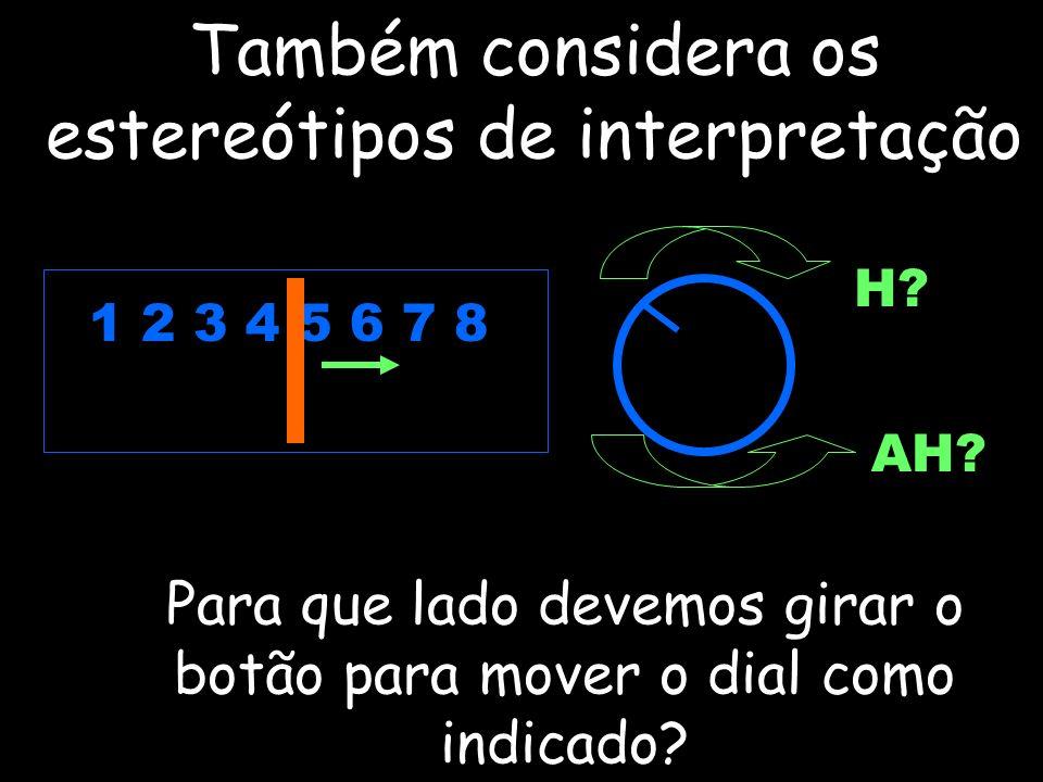 Também considera os estereótipos de interpretação 1 2 3 4 5 6 7 8 H? AH? Para que lado devemos girar o botão para mover o dial como indicado?