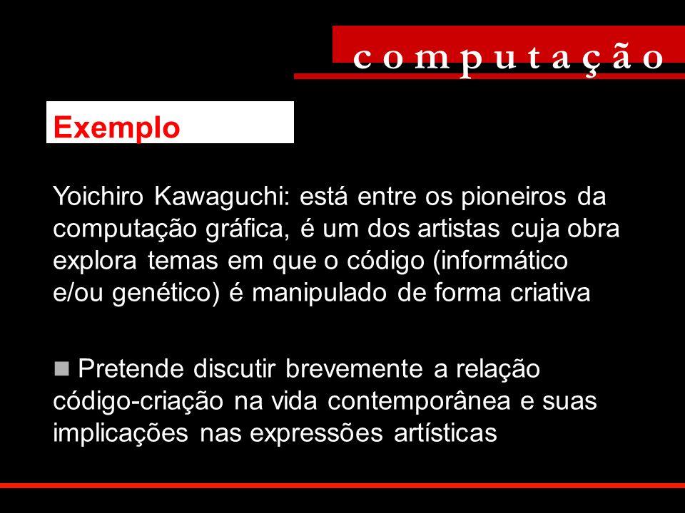 Yoichiro Kawaguchi: está entre os pioneiros da computação gráfica, é um dos artistas cuja obra explora temas em que o código (informático e/ou genétic