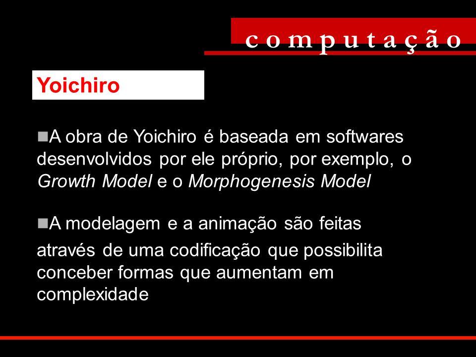 A obra de Yoichiro é baseada em softwares desenvolvidos por ele próprio, por exemplo, o Growth Model e o Morphogenesis Model A modelagem e a animação