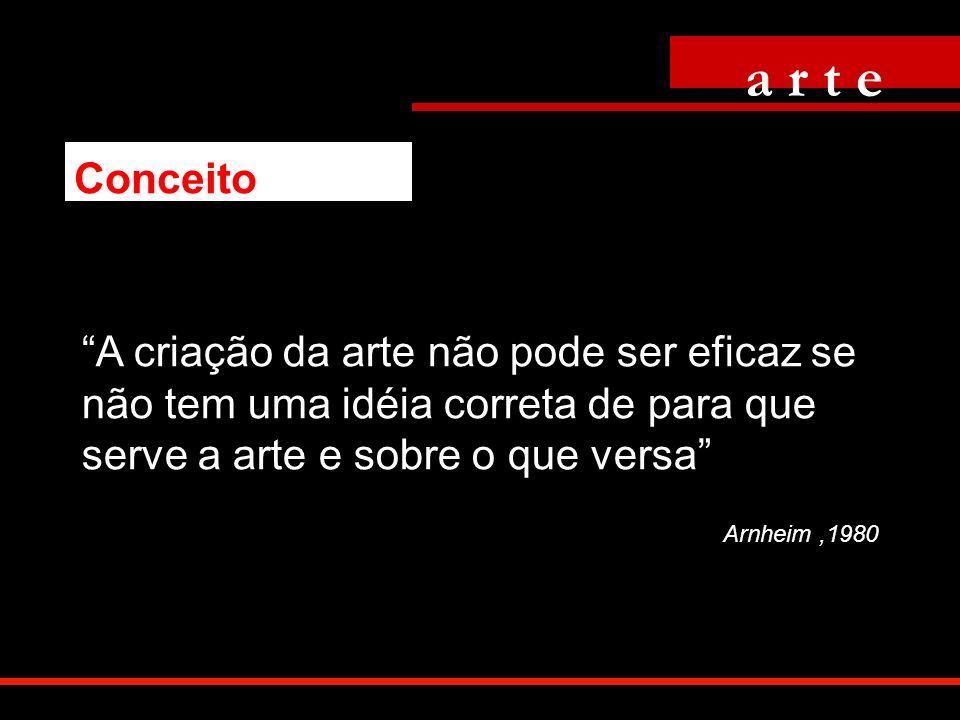 A criação da arte não pode ser eficaz se não tem uma idéia correta de para que serve a arte e sobre o que versa Arnheim,1980 a r t e Conceito