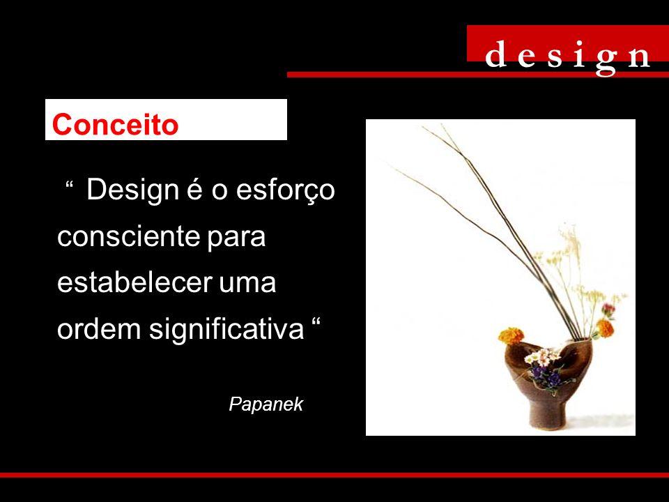 Design é o esforço consciente para estabelecer uma ordem significativa Papanek d e s i g n Conceito