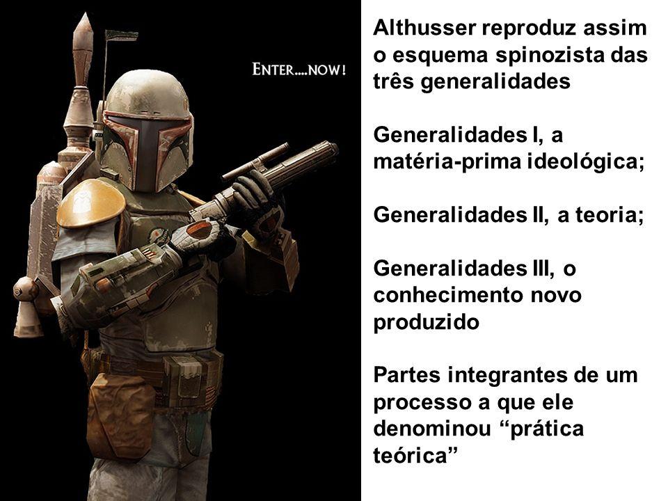 Althusser reproduz assim o esquema spinozista das três generalidades Generalidades I, a matéria-prima ideológica; Generalidades II, a teoria; Generali