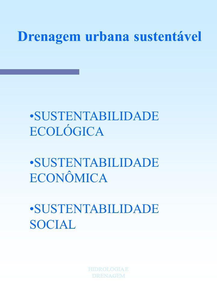 HIDROLOGIA E DRENAGEM Drenagem urbana sustentável SUSTENTABILIDADE ECOLÓGICA SUSTENTABILIDADE ECONÔMICA SUSTENTABILIDADE SOCIAL