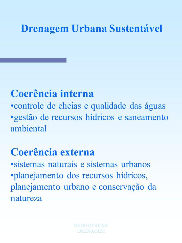 HIDROLOGIA E DRENAGEM Drenagem Urbana Sustentável Coerência interna controle de cheias e qualidade das águas gestão de recursos hídricos e saneamento