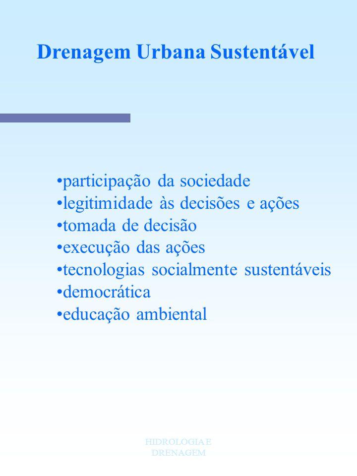 HIDROLOGIA E DRENAGEM Drenagem Urbana Sustentável participação da sociedade legitimidade às decisões e ações tomada de decisão execução das ações tecn