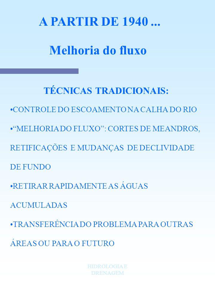 HIDROLOGIA E DRENAGEM A PARTIR DE 1940... Melhoria do fluxo TÉCNICAS TRADICIONAIS: CONTROLE DO ESCOAMENTO NA CALHA DO RIO MELHORIA DO FLUXO: CORTES DE