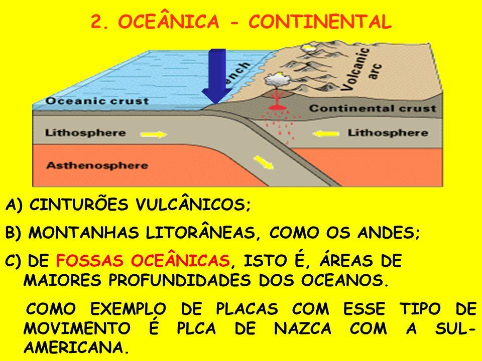 1. CONTINENTAL - CONTINENTAL COMO CONSEQÜÊNCIAS DESSA INTERAÇÃO TEM-SE A FORMAÇÃO: A) DAS CADEIAS MONTANHOSAS CONTINENTAIS;B) DE UMA ZONA DE SUBDUCÇÃO