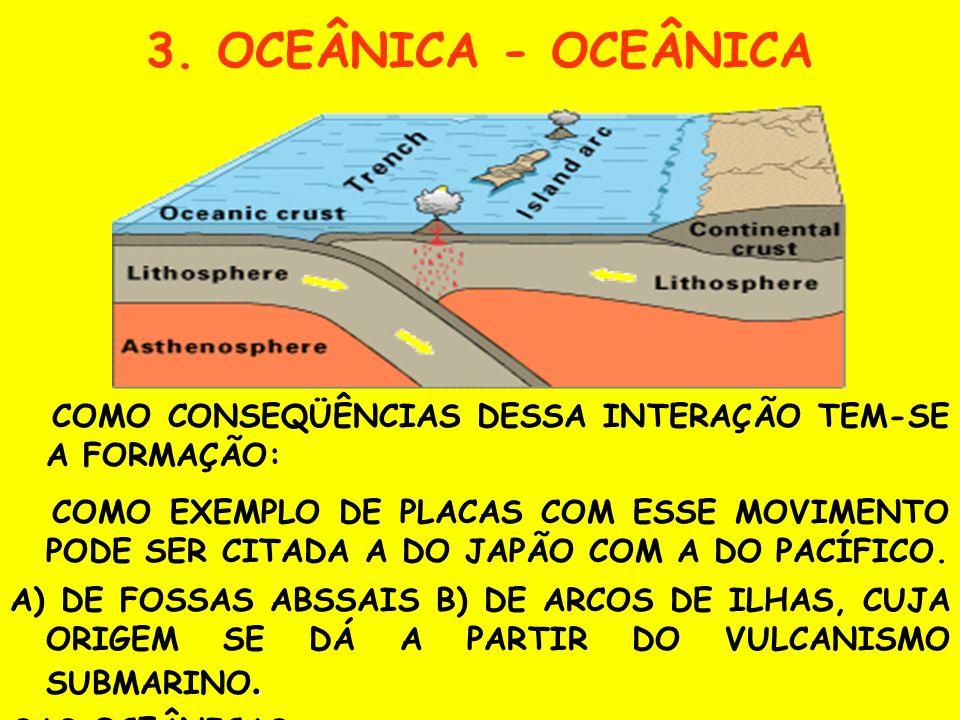 2. OCEÂNICA - CONTINENTAL C) DE FOSSAS OCEÂNICAS, ISTO É, ÁREAS DE MAIORES PROFUNDIDADES DOS OCEANOS. A) CINTURÕES VULCÂNICOS; B) MONTANHAS LITORÂNEAS
