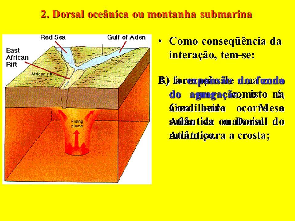 Como conseqüência dessa interação, tem-se a formação de lagos tectônicos, como os existentes no leste da África.Como conseqüência dessa interação, tem