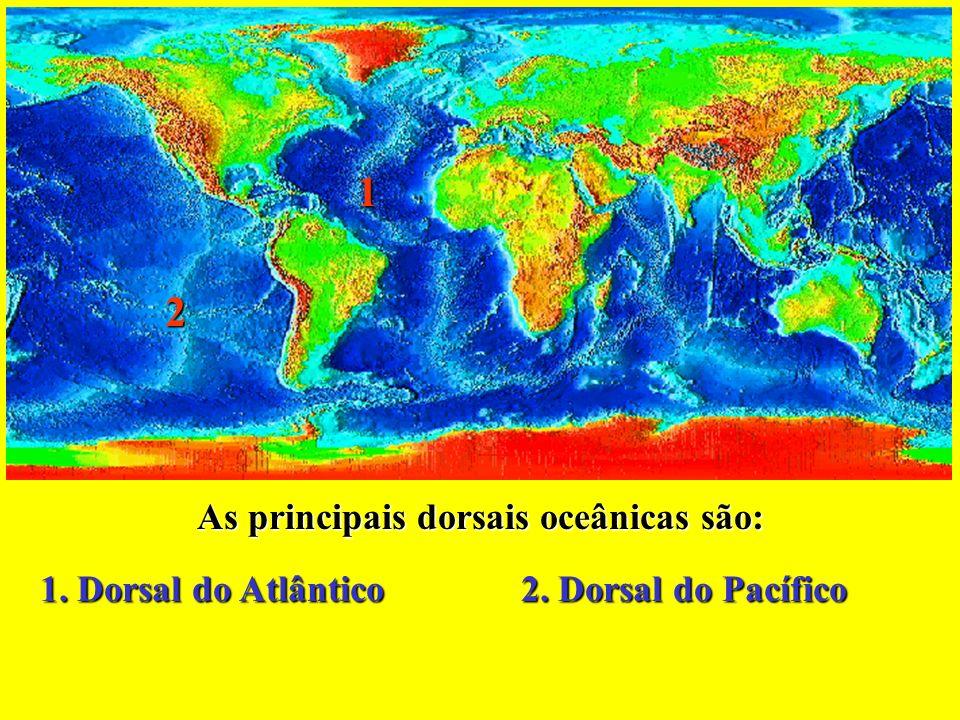 As principais dorsais oceânicas são: 2 1 1. Dorsal do Atlântico 2. Dorsal do Pacífico