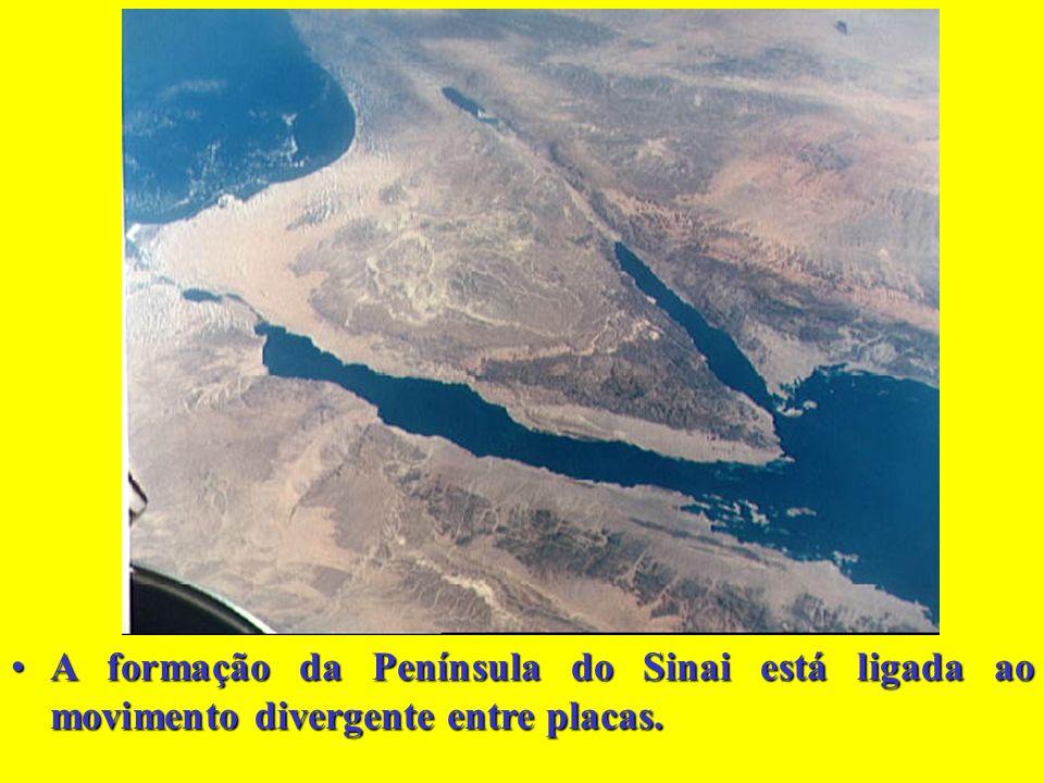 A formação da Península do Sinai está ligada ao movimento divergente entre placas.A formação da Península do Sinai está ligada ao movimento divergente entre placas.