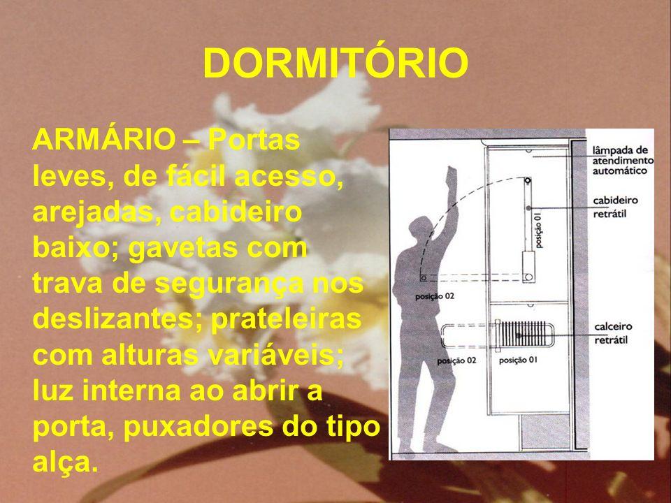 DORMITÓRIO ARMÁRIO – Portas leves, de fácil acesso, arejadas, cabideiro baixo; gavetas com trava de segurança nos deslizantes; prateleiras com alturas