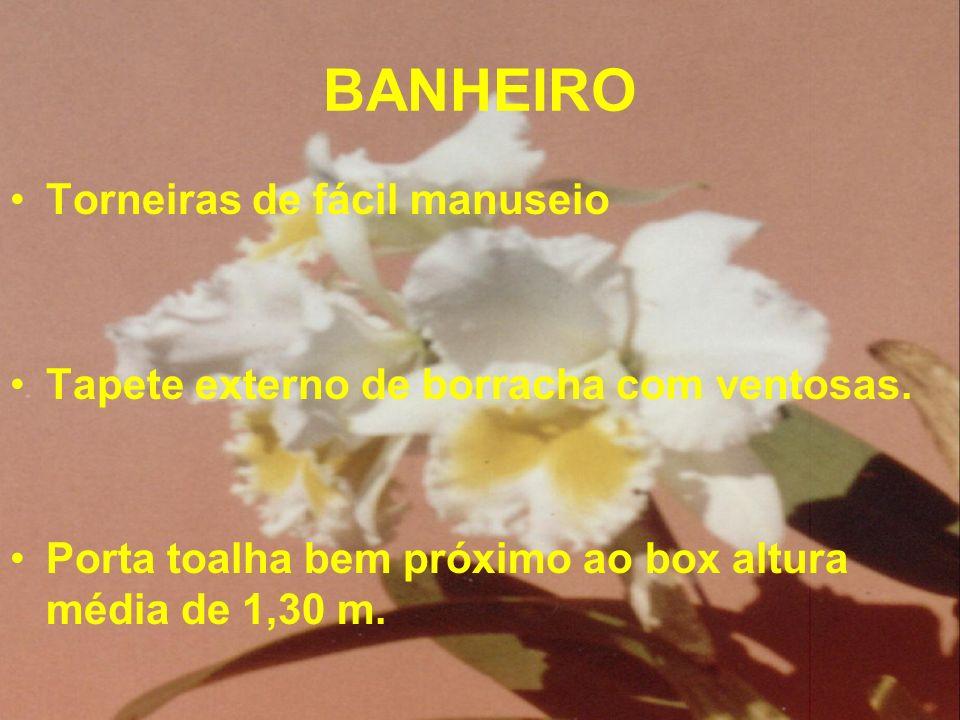 BANHEIRO Torneiras de fácil manuseio Tapete externo de borracha com ventosas. Porta toalha bem próximo ao box altura média de 1,30 m.