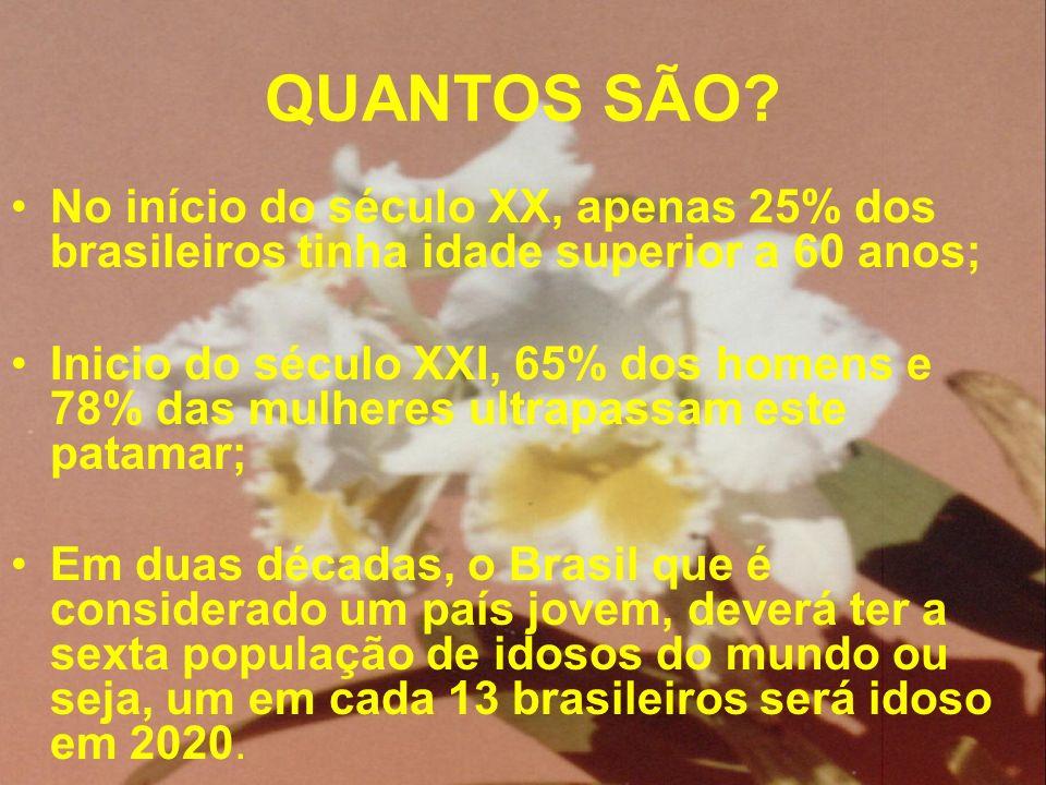 QUANTOS SÃO? No início do século XX, apenas 25% dos brasileiros tinha idade superior a 60 anos; Inicio do século XXI, 65% dos homens e 78% das mulhere