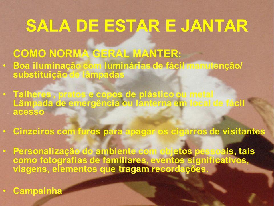 SALA DE ESTAR E JANTAR COMO NORMA GERAL MANTER : Boa iluminação com luminárias de fácil manutenção/ substituição de lâmpadas Talheres, pratos e copos