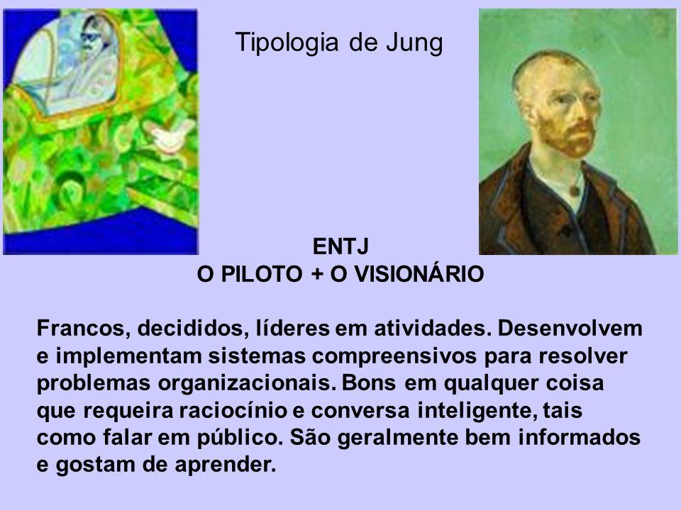 Tipologia de Jung ENTJ O PILOTO + O VISIONÁRIO Francos, decididos, líderes em atividades. Desenvolvem e implementam sistemas compreensivos para resolv