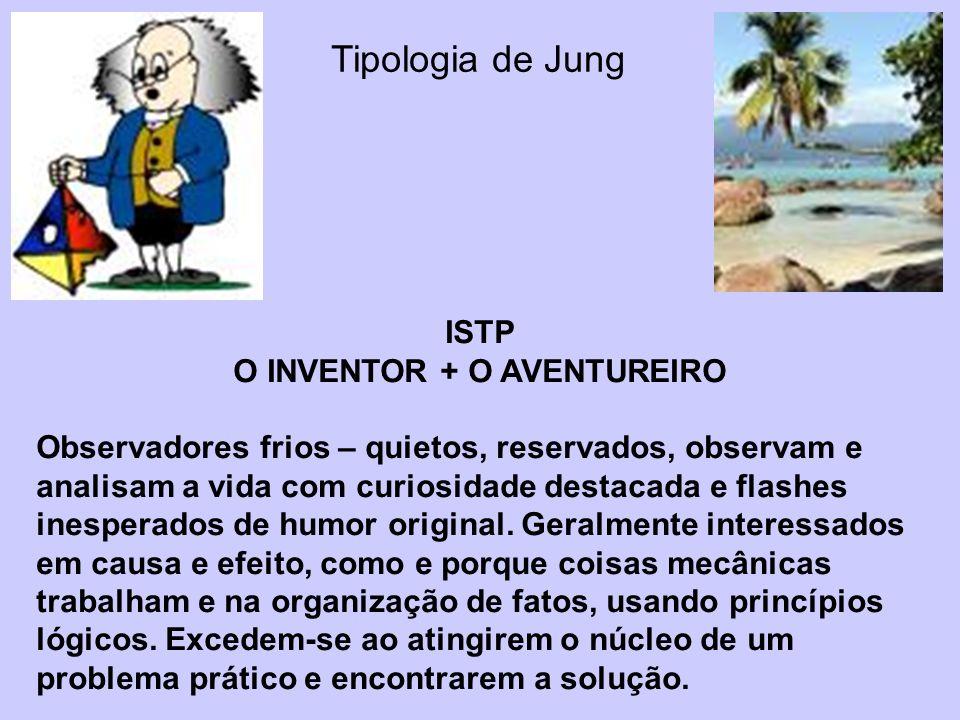 Tipologia de Jung ISTP O INVENTOR + O AVENTUREIRO Observadores frios – quietos, reservados, observam e analisam a vida com curiosidade destacada e fla