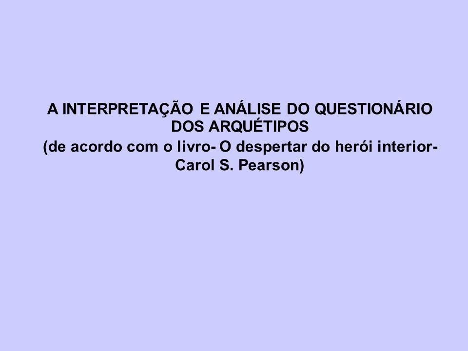 A INTERPRETAÇÃO E ANÁLISE DO QUESTIONÁRIO DOS ARQUÉTIPOS (de acordo com o livro- O despertar do herói interior- Carol S. Pearson)