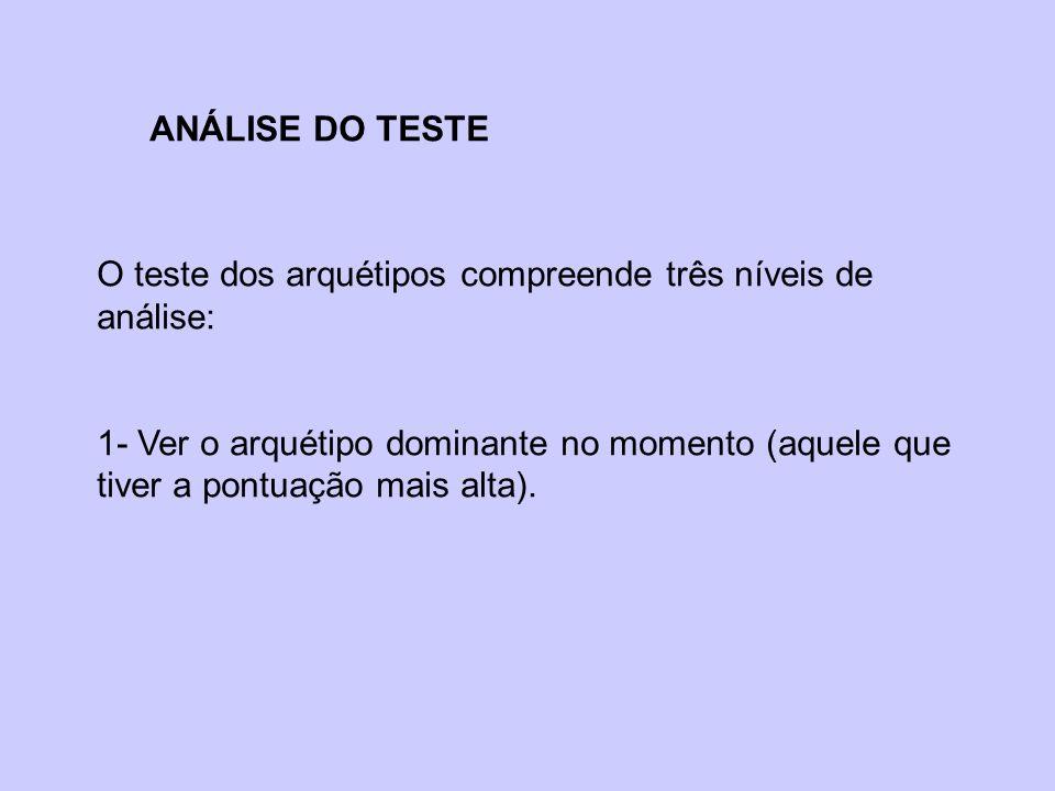 ANÁLISE DO TESTE O teste dos arquétipos compreende três níveis de análise: 1- Ver o arquétipo dominante no momento (aquele que tiver a pontuação mais