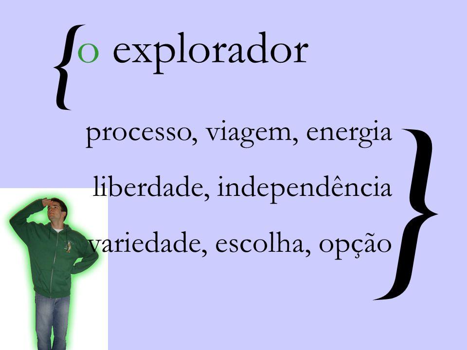 { } processo, viagem, energia liberdade, independência variedade, escolha, opção