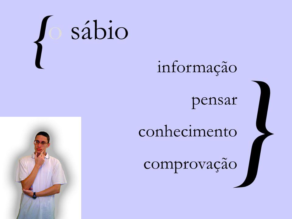 { } informação pensar conhecimento comprovação o sábio