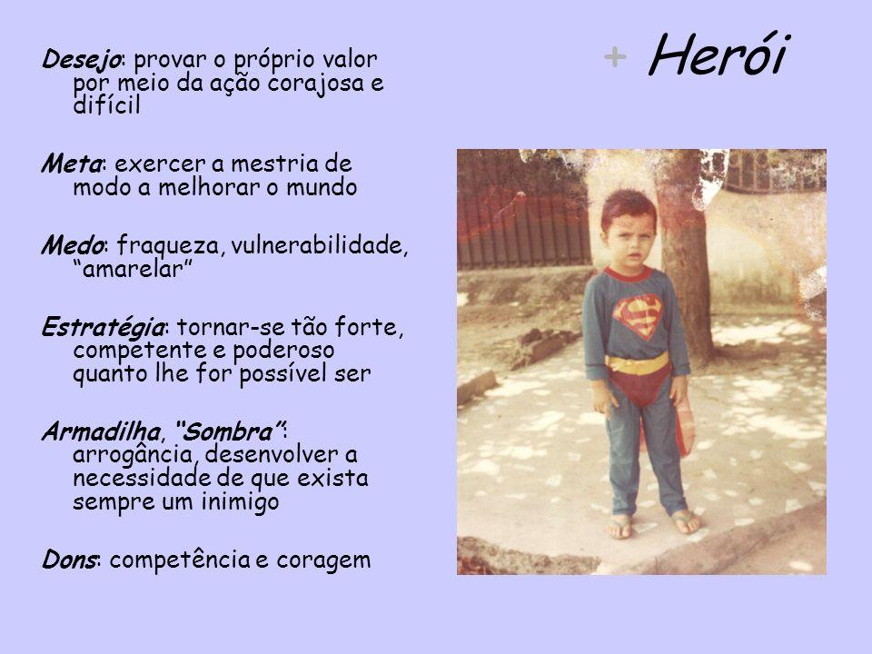 + Herói Desejo: provar o próprio valor por meio da ação corajosa e difícil Meta: exercer a mestria de modo a melhorar o mundo Medo: fraqueza, vulnerab