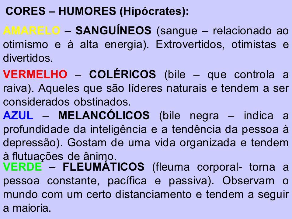 CORES – HUMORES (Hipócrates): AMARELO – SANGUÍNEOS (sangue – relacionado ao otimismo e à alta energia). Extrovertidos, otimistas e divertidos. VERMELH