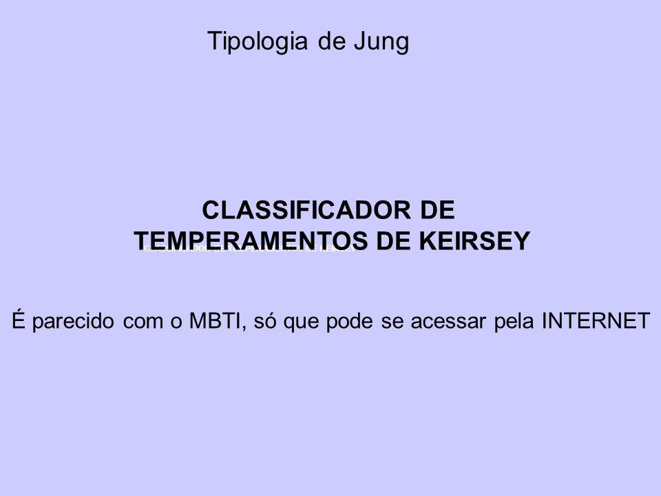 Tipologia de Jung CLASSIFICADOR DE TEMPERAMENTOS DE KEIRSEY CLASSIFICADOR DE TEMPERAMENTOS DE KEIRSEY É parecido com o MBTI, só que pode se acessar pe
