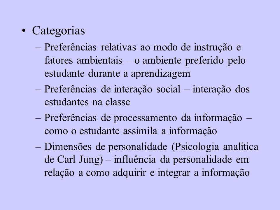 Categorias –Preferências relativas ao modo de instrução e fatores ambientais – o ambiente preferido pelo estudante durante a aprendizagem –Preferência