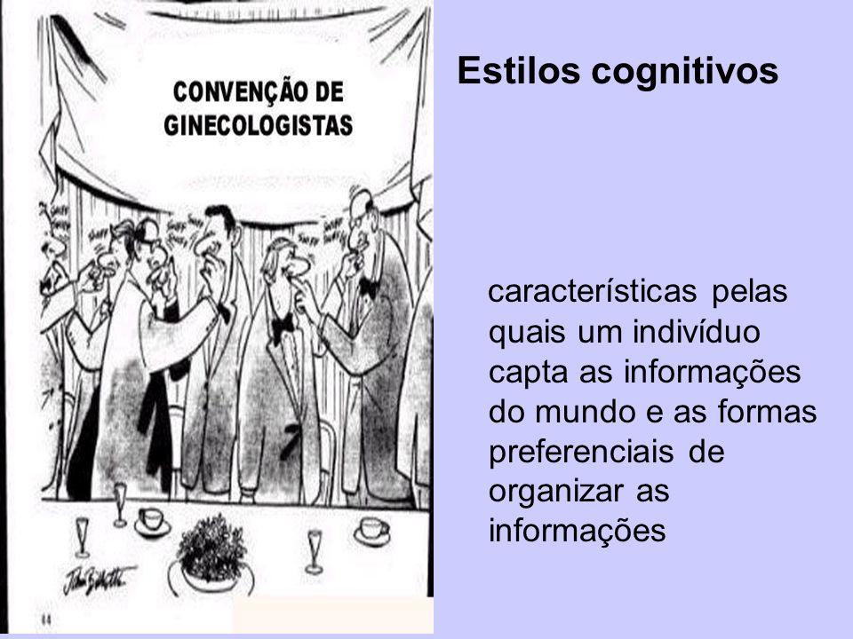 Estilos cognitivos características pelas quais um indivíduo capta as informações do mundo e as formas preferenciais de organizar as informações