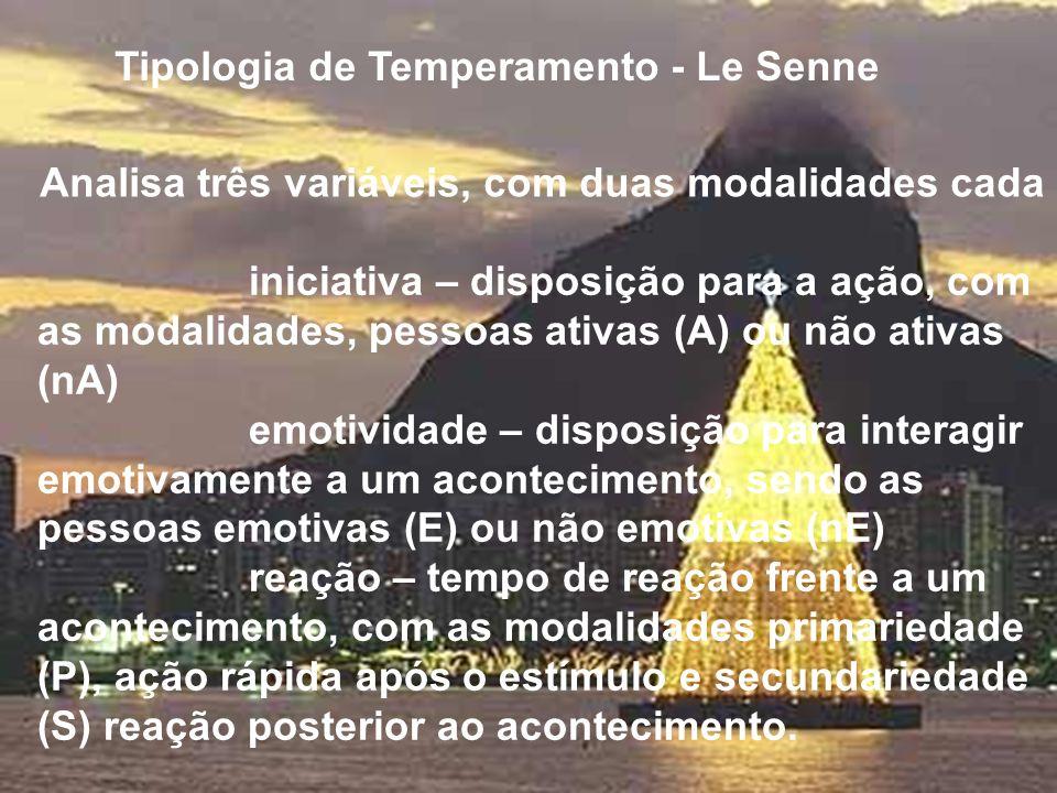 Tipologia de Temperamento - Le Senne iniciativa – disposição para a ação, com as modalidades, pessoas ativas (A) ou não ativas (nA) emotividade – disp