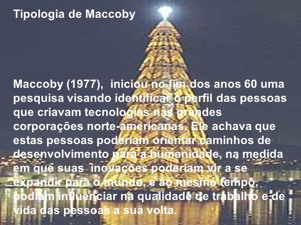 Tipologia de Maccoby Maccoby (1977), iniciou no fim dos anos 60 uma pesquisa visando identificar o perfil das pessoas que criavam tecnologias nas gran