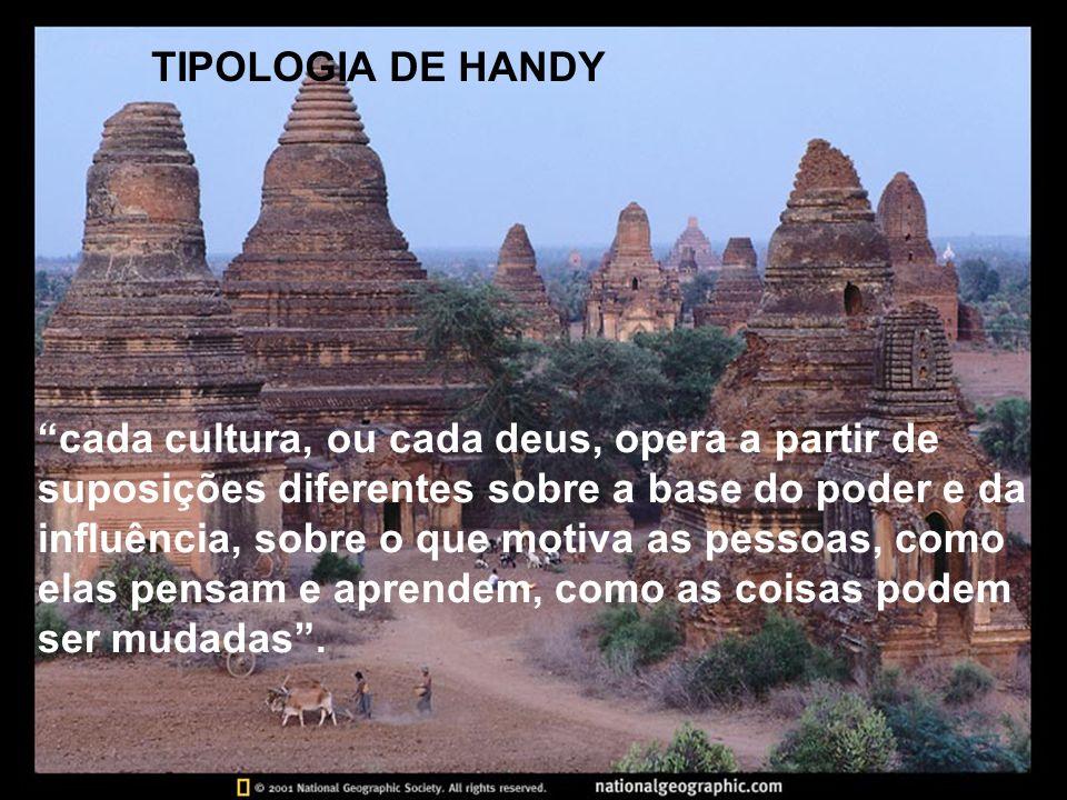 TIPOLOGIA DE HANDY cada cultura, ou cada deus, opera a partir de suposições diferentes sobre a base do poder e da influência, sobre o que motiva as pe